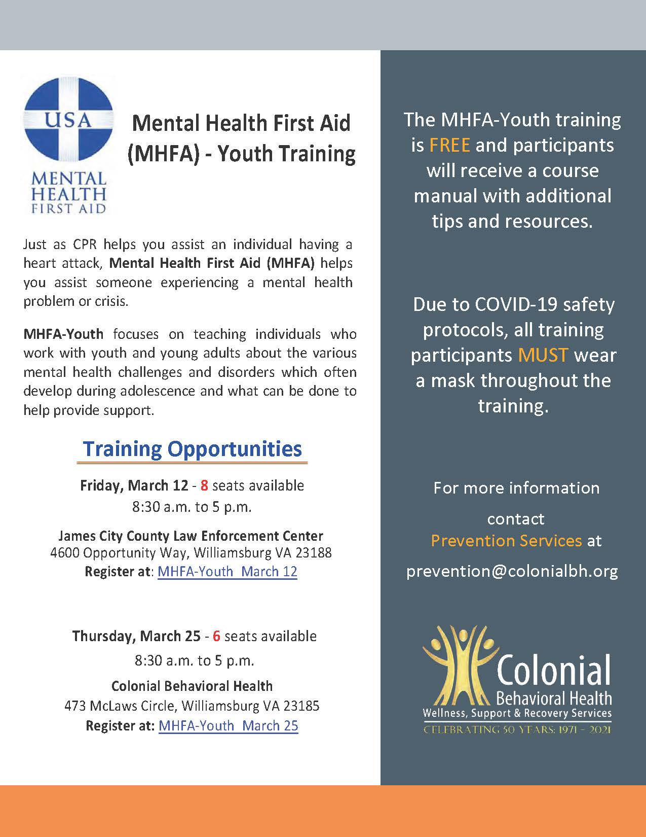 MHFA-Youth March 2021